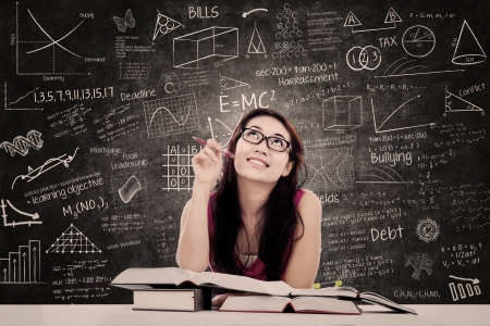 study: College female student is learning in the classroom