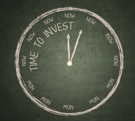 share market: Time to invest written on blackboard with a clock Stock Photo