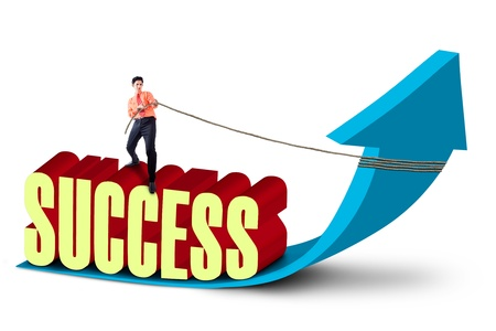 self improvement: Businessman is striving for success by pulling the arrow sign, isolated on white