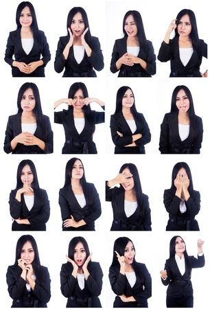 pasaportes: Retrato de mujer hermosa con rostros �tiles multi aislados en blanco