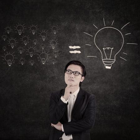 Asian businessman think of big idea with lightbulb background photo