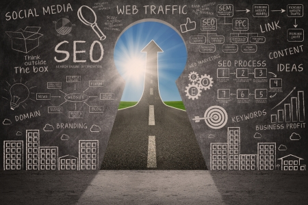 communication metaphor: Business SEO doodle on blackboard with success road through a keyhole Stock Photo