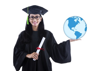Attractive woman holding a globe and certificate on white background photo