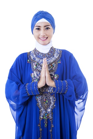 Beautiful asian muslim woman smiling isolated on white photo