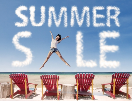 Summer sale cloud with girl jumping over beach chairs