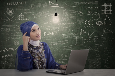 light classroom: Asian female muslim with laptop under lit bulb in classroom Stock Photo
