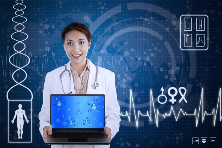 gender symbol: Beautiful scientist hold laptop on blue background with 2D illustration