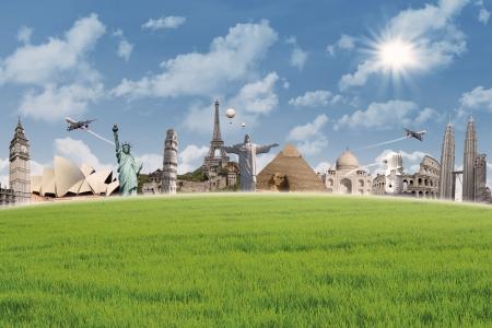 Beeld van verschillende bezienswaardigheden over de hele wereld tijdens de dag, onder de blauwe hemel