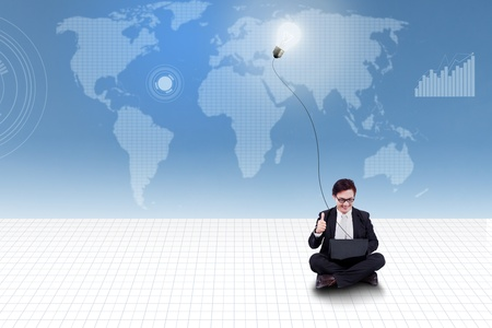 Businessman give thumb up on blue world map background Stock Photo - 20353412