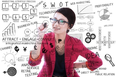 strategy meeting: Businesswoman writing on transparant glass with white background Stock Photo