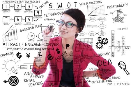 zeichnen: Geschäftsfrau schriftlich auf transparentes Glas mit weißem Hintergrund