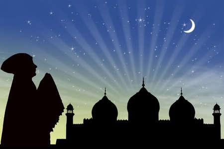 salat: Card design of woman muslim praying on mosque background Stock Photo