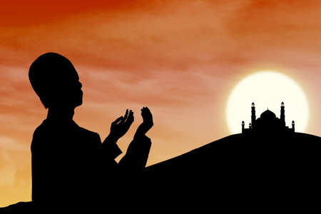 muslim pray: Card design silhouette of muslim man praying near mosque at sunset