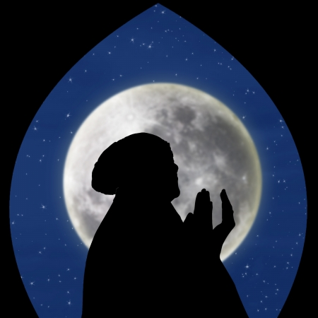 salat: Close-up of female muslim pray on blue moon background