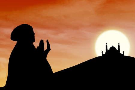 muslim prayer: Silhouette of female muslim silhouette and mosque on orange sunset background Stock Photo