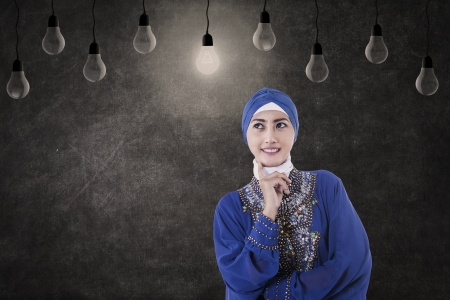 Asian female muslim is thinking under lightbulbs in class photo