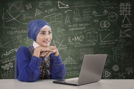learning arabic: Beautiful muslim girl study with laptop at classroom