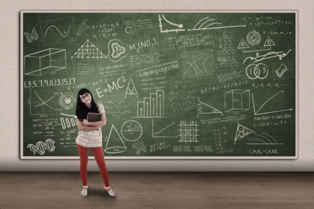Beautiful female student standing in front of hand drawn chalkboard in class Stock Photo - 20709115