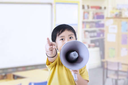 mc2: Kid with megaphone in class
