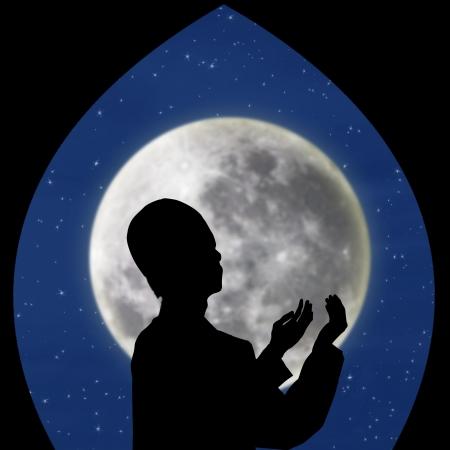 meditate: Card design silhouette of muslim praying on blue moon