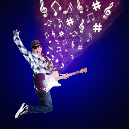 bass guitar: Guitarist jumping with musical notes on blue background