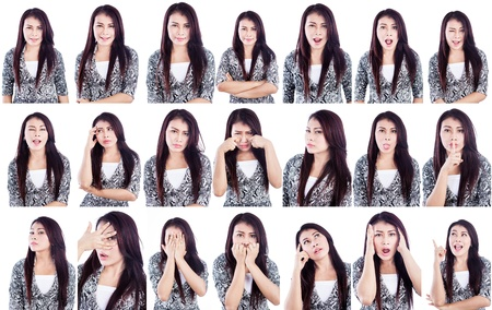 Multiple facial expressions of a beautiful woman isolated over white photo