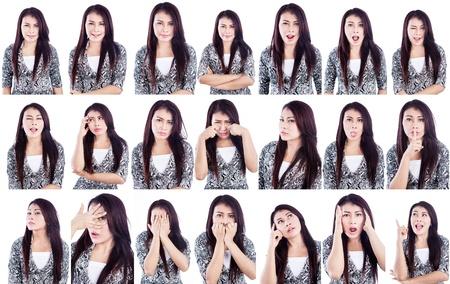 gestos de la cara: Varias expresiones faciales de una mujer hermosa aisladas sobre blanco