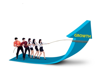 team: Business team is pulling growth arrow sign on white background