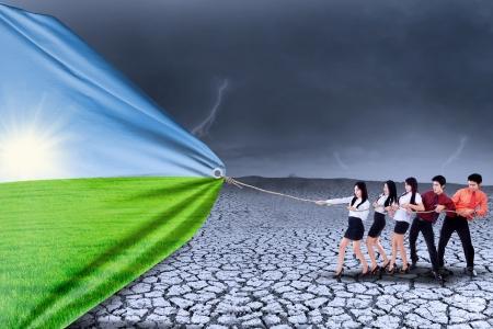 Zespół firmy ciągnie tło sezon zmienić sezon suszy