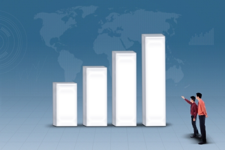 Business partners are looking at profit bar chart on blue background photo