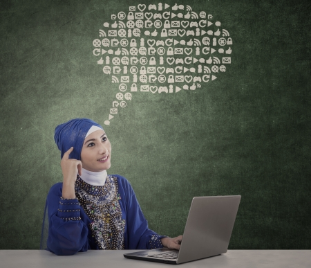 Female muslimah thinking on abstract cloud in class photo