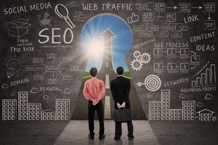 Business partners and SEO doodle on blackboard with success road view Stock Photo - 21418692