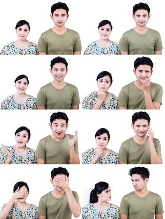 faccia disperata: Close-up della coppia asiatica con multi espressioni del viso su sfondo bianco