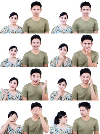 facial gestures: Primer plano de una pareja asi�tica con expresiones faciales m�ltiples en el fondo blanco