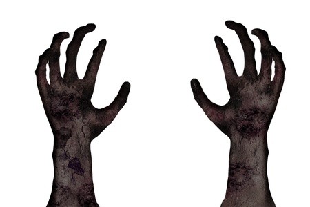 zombie hand: Isolated zombie hand over white