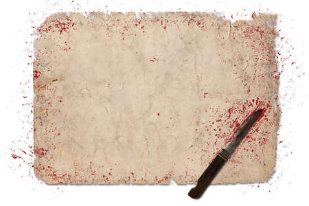 spattered: Halloween border with blood and knife for background invitation Stock Photo