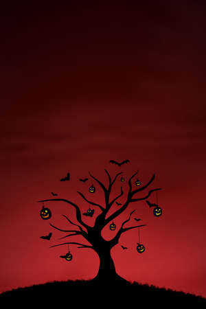3d halloween: Background of pumpkin tree and bats on red