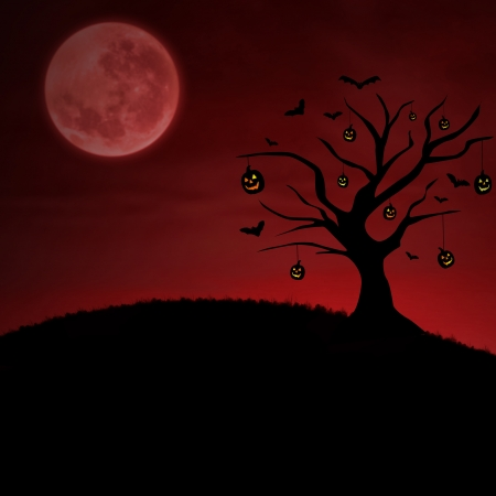 Background of halloween with pumpkin tree under the moon on red photo