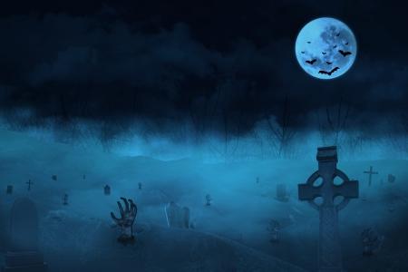 Halloween achtergrond met zombies en de maan Stockfoto - 21539458