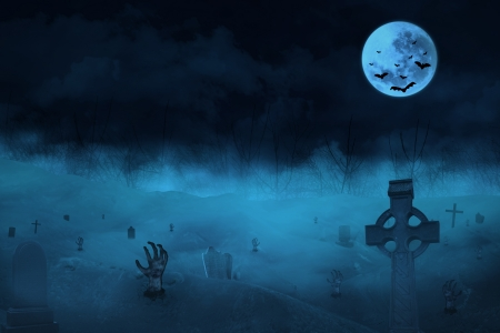horror background: Halloween background with zombies and the moon