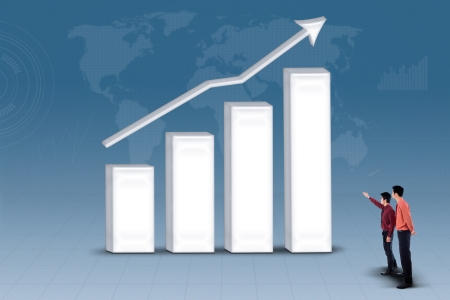 Business partnership are looking at increasing bar chart on blue background photo