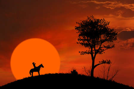 Horse rider silhouette at orange sunset outdoor photo