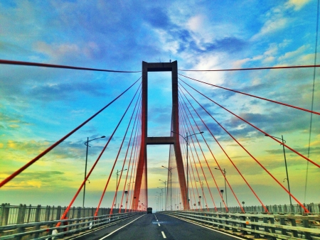 toll: Suramadu bridge connecting Surabaya and Madura East Java Indonesia Stock Photo