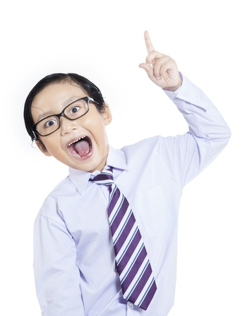 Smart young businessman raised his hand on white background photo
