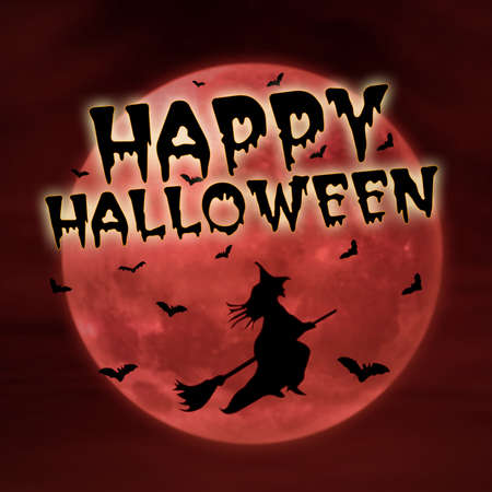 3d witch: Happy halloween greeting card on red moon with witch