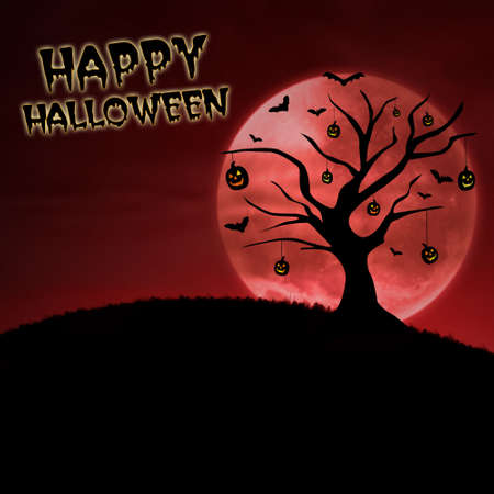 3d vampire: Silhouette of pumpkin tree and moon for halloween card design on red Stock Photo