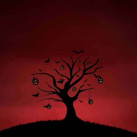 ghostly: Halloween background of pumpkin tree on red