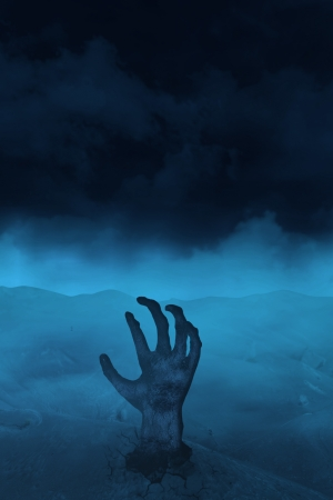 Scary picture of zombie's hand on  blue background Stock Photo - 21985601
