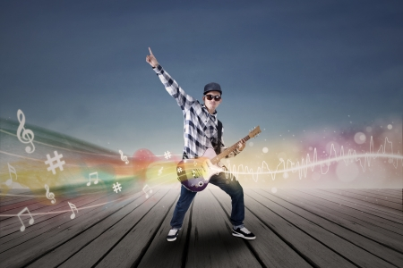 Guitarist with his guitar and musical notes illustration  illustration