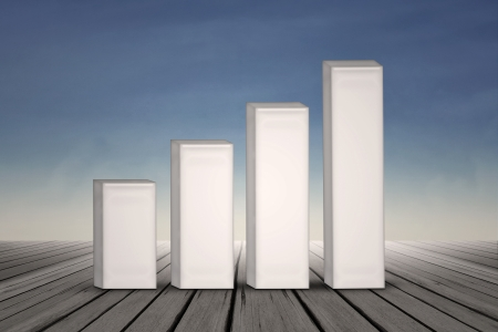 Growing business bar chart on blue sky background photo